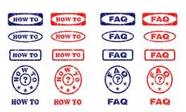 Hoe te en rubberzegels FAQ stock illustratie