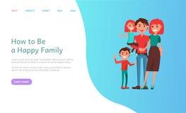 Hoe te Gelukkige Familiemoeder en Vader Kids te zijn vector illustratie