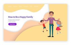 Hoe te Gelukkige van Familievader en Jonge geitjes te zijn Website stock illustratie