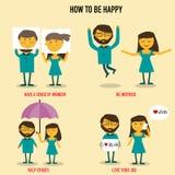 Hoe te met gelukkig te zijn hebben een betekenis van wonder, hulp anderen, inspi zijn Royalty-vrije Stock Afbeeldingen