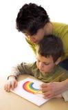 Hoe te om een regenboog te schilderen Stock Fotografie
