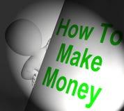 Hoe te om Geld te maken Vertoningenrijkdom en Rijkdom ondertekenen Stock Afbeeldingen
