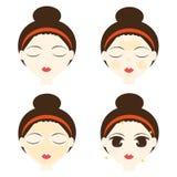 Hoe te om gezichtsmasker te stappen Stock Foto's