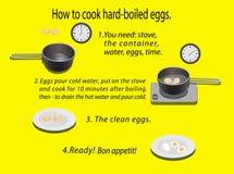Hoe te om hard-gekookte eieren te koken Royalty-vrije Stock Foto