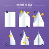 Hoe te om het document van het origamivliegtuig te maken het vouwen Royalty-vrije Stock Afbeelding
