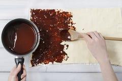 Hoe te om meer palmier koekjes te maken - Franse koekjes Stock Foto