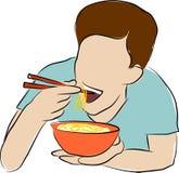 Hoe te om Noedels te eten royalty-vrije illustratie