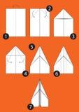 Hoe te om origamivliegtuig te maken Royalty-vrije Stock Foto's