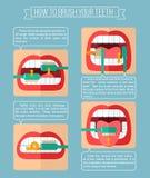 Hoe te om uw tanden te borstelen Stock Fotografie