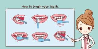 Hoe te om uw tanden te borstelen, royalty-vrije illustratie