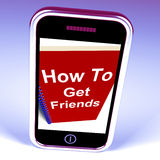 Hoe te om Vrienden op Telefoon te krijgen vertegenwoordigt het Krijgen van Vrienden Stock Fotografie
