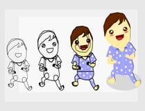 hoe te trekkend de baby met pyjama's Stock Afbeeldingen