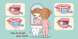 Hoe to brush your teeth. Cartoon young girl teach how to brush your teeth Royalty Free Stock Photography