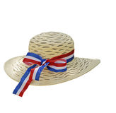 Hoed die met blauw, wit en rood lint wordt verfraaid Royalty-vrije Stock Foto