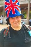 Hoed die met Union Jack wordt verfraaid Royalty-vrije Stock Foto's