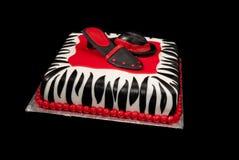 Hoed en Schoen op de Cake van de gestreept-Druk Royalty-vrije Stock Afbeeldingen