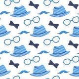 Hoed, glazen, snor, vlinderdas naadloos patroon Kan als vakantieachtergrond voor Vader` s Dag worden gebruikt royalty-vrije illustratie