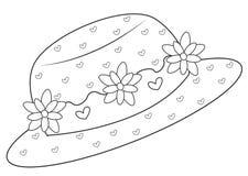 Hoed met bloemen die pagina kleuren Stock Fotografie