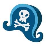 Hoed van de beeldverhaal de blauwe piraat met Stock Afbeeldingen