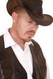 Hoed van het cowboy neer eruit ziet de dichte vest royalty-vrije stock foto
