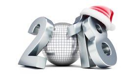 Hoed van het jaar 2018 santa van de discobal de nieuwe op een witte 3D illustratie als achtergrond, het 3D teruggeven Royalty-vrije Stock Foto