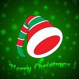 Hoed van het Kerstmiself op een groene achtergrond Stock Fotografie