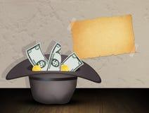 Hoed voor liefdadigheid met geld stock illustratie