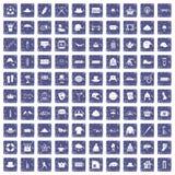 100 hoedenpictogrammen geplaatst grunge saffier Stock Foto