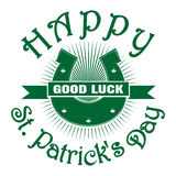 hoef Goed geluk Gelukkige St Patricks dag stock illustratie