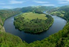 Hoefijzer kromming van rivier Vltava Royalty-vrije Stock Foto