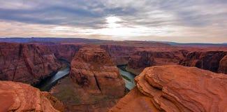 Hoefijzerkromming in het Nationale Park van Grand Canyon, Arizona, de Verenigde Staten van Amerika royalty-vrije stock foto