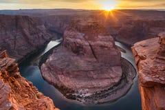 Hoefijzerkromming met de rivier van Colorado, Arizona Royalty-vrije Stock Foto's