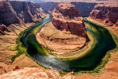 Hoefijzerkromming op de rivier van Colorado stock afbeelding