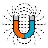 Hoefijzermagneet met magnetische velden vector illustratie