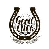 Hoefijzersymbool of etiket Goed geluk, het van letters voorzien Vector illustratie Stock Foto