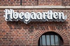 HOEGAARDEN BELGIEN - SEPTEMBER 04, 2014: En inskrift Hoegaarden på en gammal vägg för röd tegelsten Royaltyfria Foton