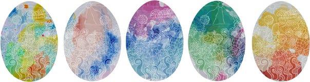 Hoeisontal banner easter eggs spot rural5 white stock illustration