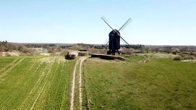 Aerial View of Historic Danish Windmill stock video