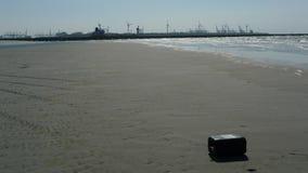 Hoek搬运车荷兰看法从海滩的 库存图片