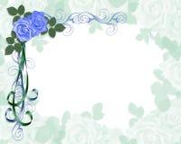 Hoek van de uitnodigings de Blauwe rozen van het huwelijk Royalty-vrije Stock Afbeelding