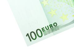 Hoek van Euro Bankbiljet 100 Stock Foto