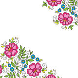 Hoek van het bloem de vectorornament Stock Afbeeldingen