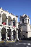 Hoek van het Plein DE Armas (Hoofdvierkant) in Arequipa, Peru Stock Afbeeldingen