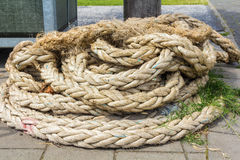 Coil of natural fibre rope, landscape Royalty Free Stock Image