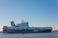 Car passenger ferry ship DFDS Gardenia seaways sailing out of port Rotterdam. Hoek van Holland, the Netherlands - January 20 2019: car passenger ferry ship DFDS stock image