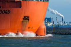 Closeup of bow of Fjord heavy lift ship in Rotterdam harbor. Hoek van Holland, the Netherlands - 30 July 2017: Fjord heavy lift ship in Rotterdam harbor royalty free stock images