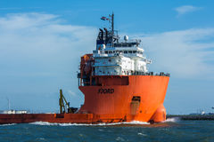 Fjord heavy lift ship in Rotterdam harbor. Hoek van Holland, the Netherlands - 30 July 2017: Fjord heavy lift ship in Rotterdam harbor royalty free stock image