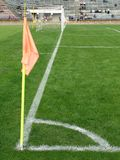 Hoek van voetbalgebied Stock Foto