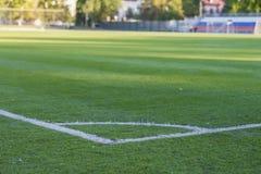 Hoek van voetbalgebied, patroon van groen gras voor voetbalsport, voetbalgebied, stadion, selectieve sporttextuur, Stock Fotografie