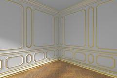 Hoek van witte lege ruimte met het gouden vormen en parket Royalty-vrije Stock Afbeelding